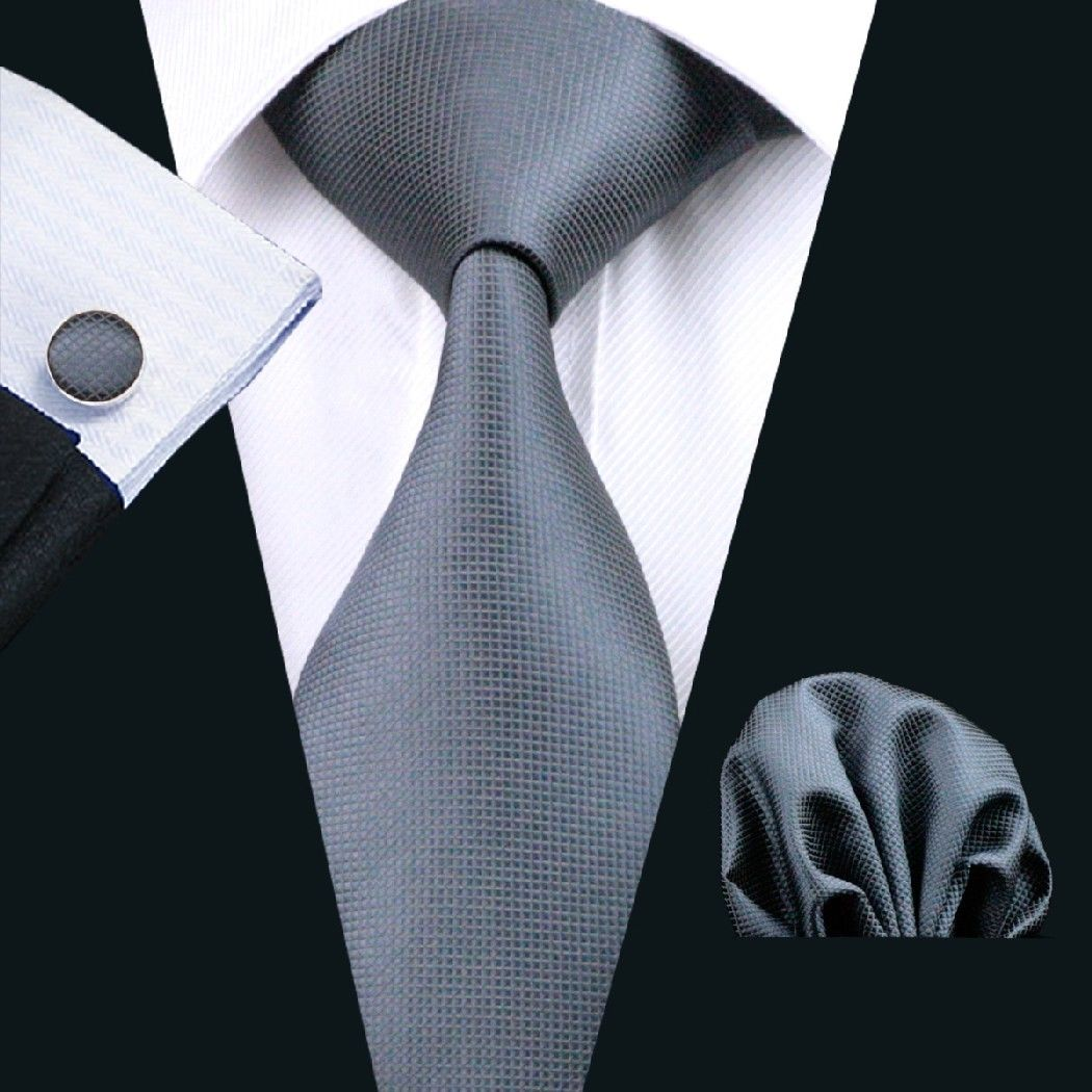 Charcoal Silk Tie with Matching Pocket Square and Cufflink Set