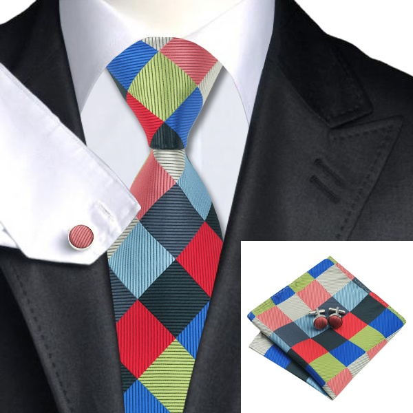 Coloured Diamonds Silk Tie with Matching Pocket Square and Cufflink Set