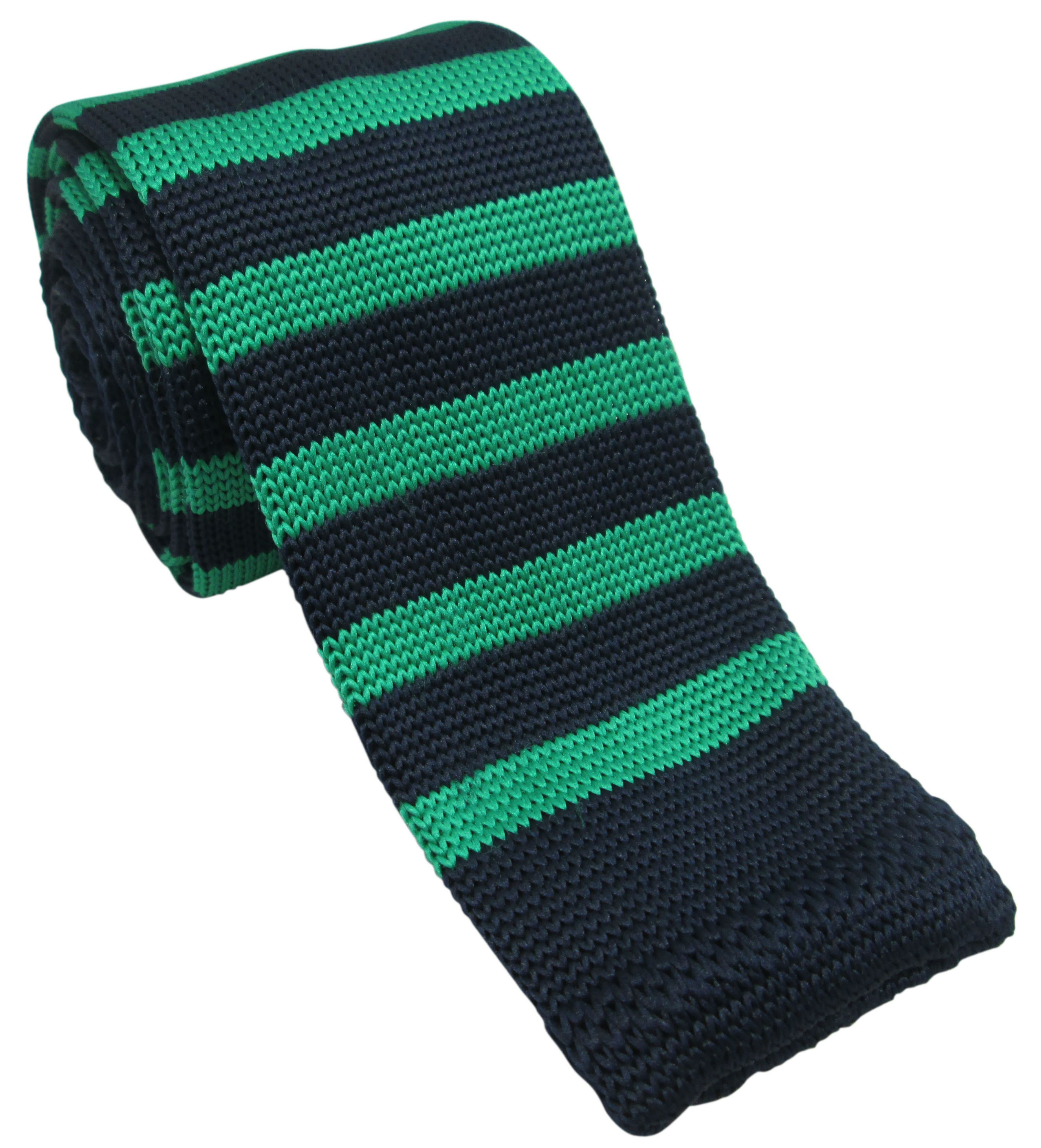 Green and Navy Striped Knitted Tie