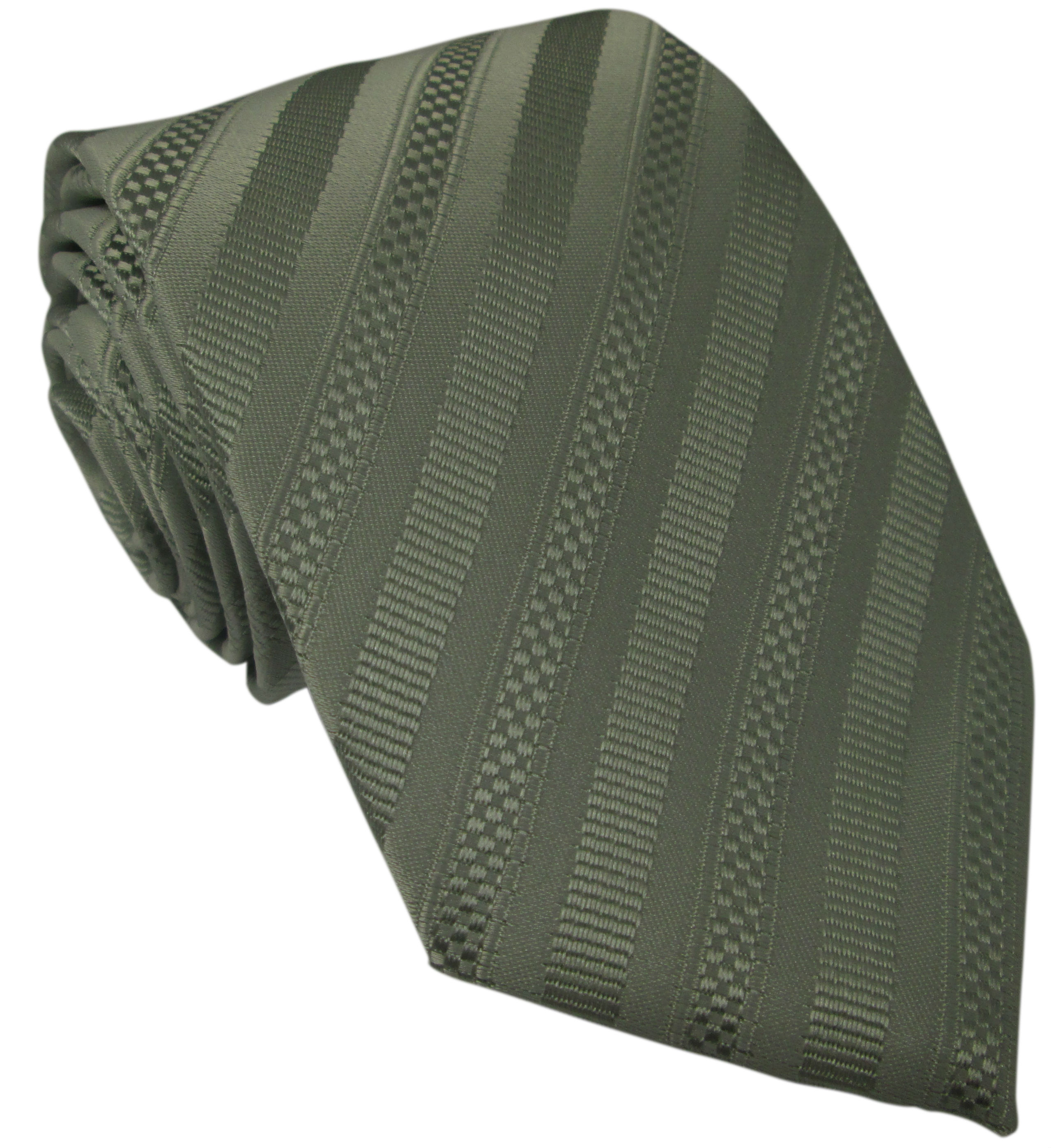 Grey and Silver Striped Silk Tie