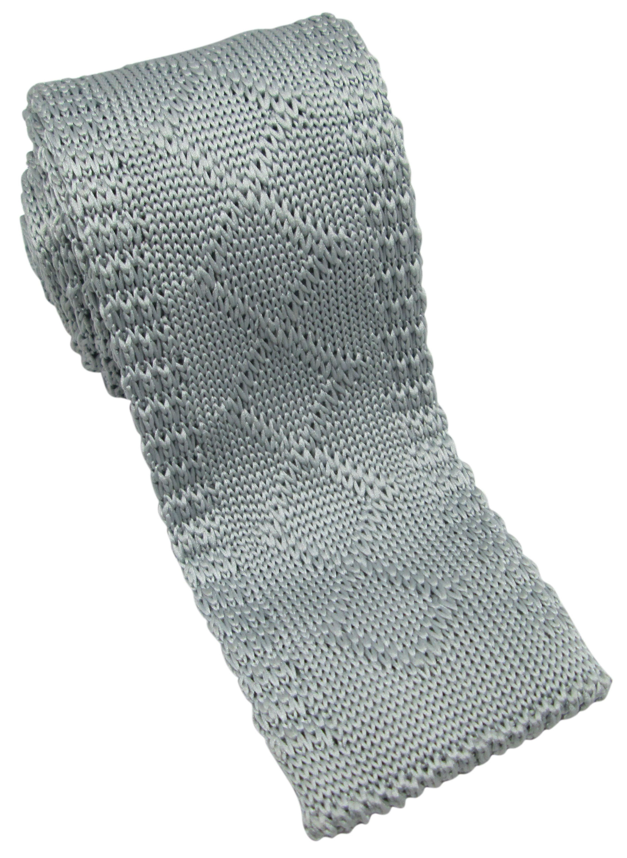 Grey Pattern Knitted Tie