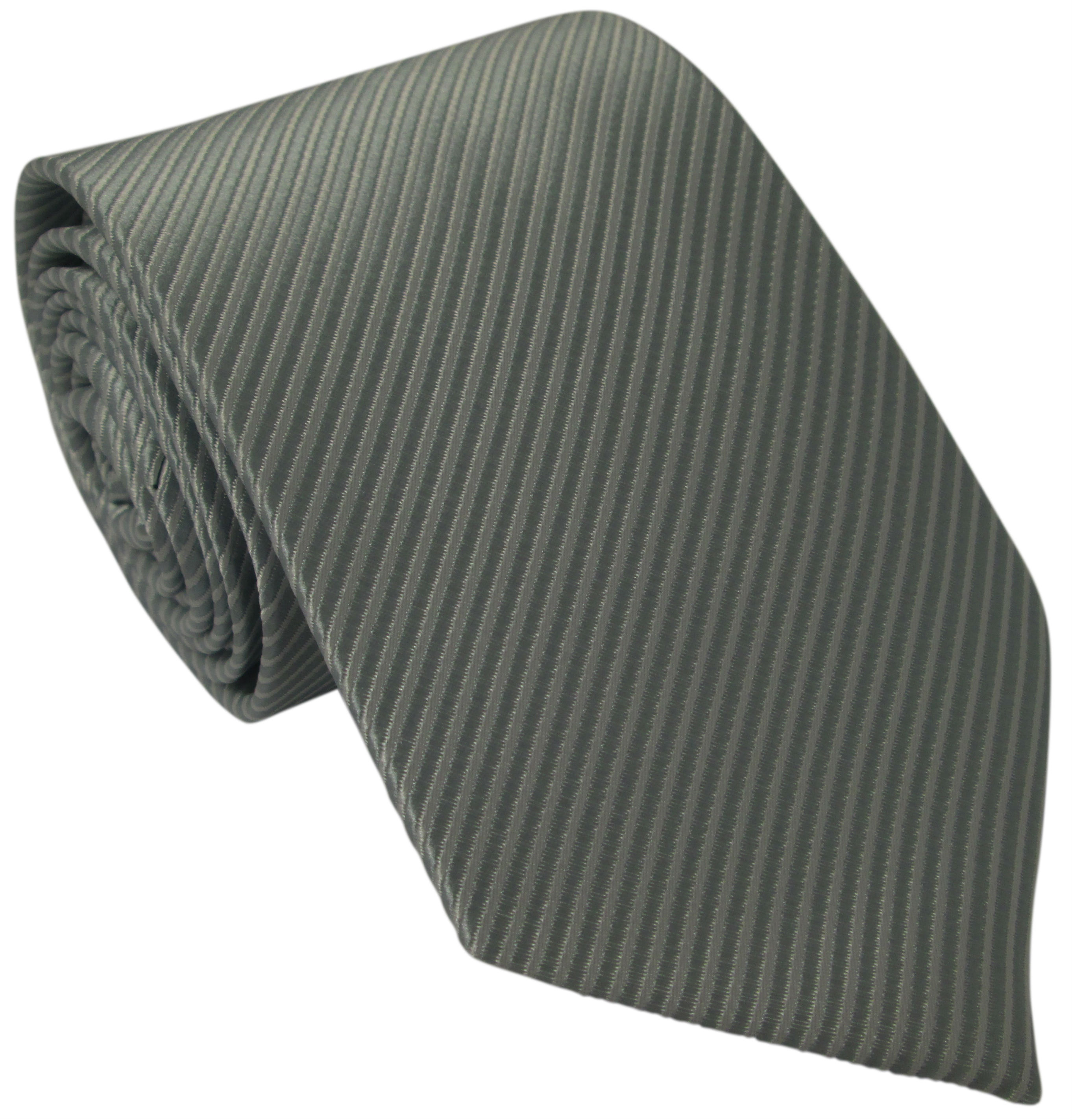 Grey Ribbed Silk Tie