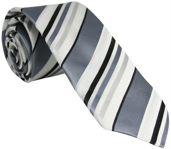 Grey Silk Tie with White and Black Stripes