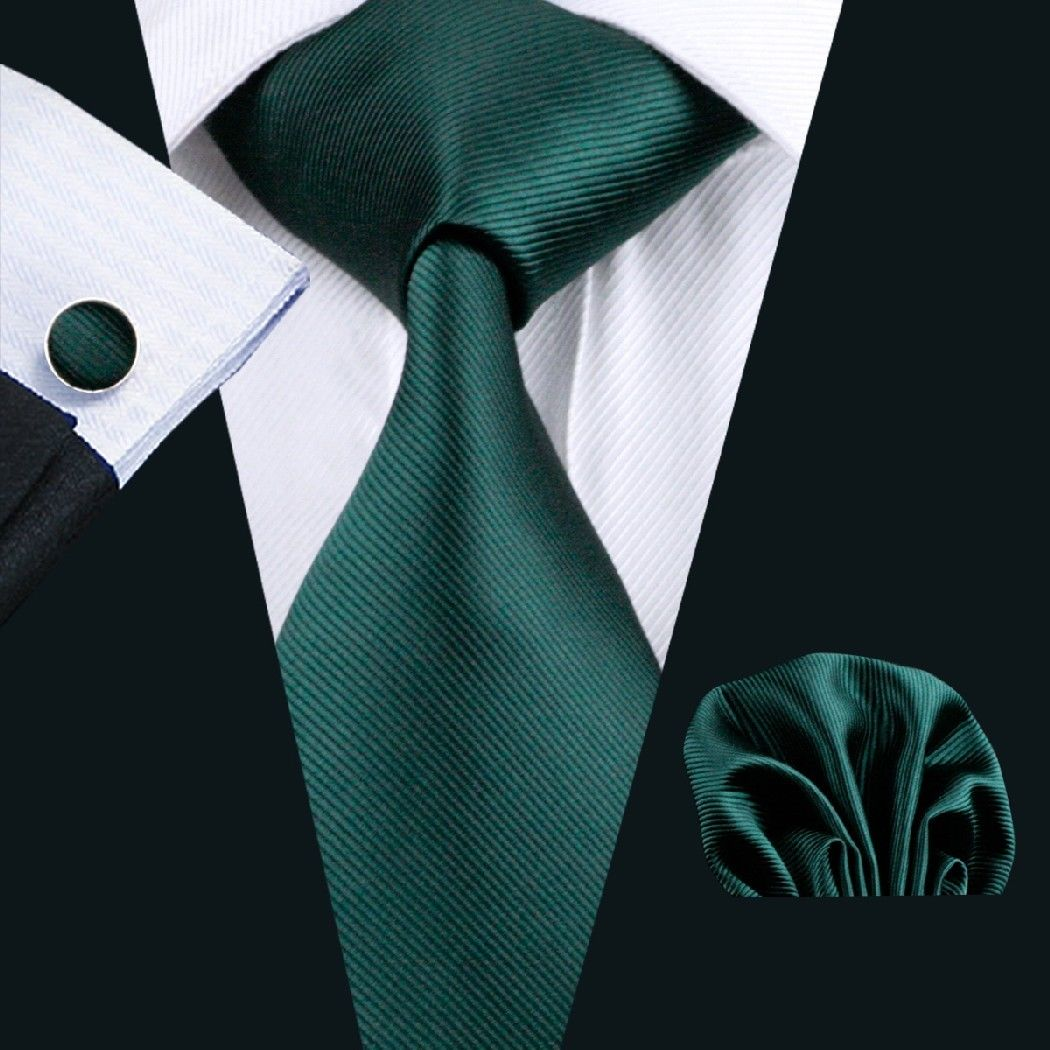Jade Green Silk Tie with Matching Pocket Square and Cufflink Set