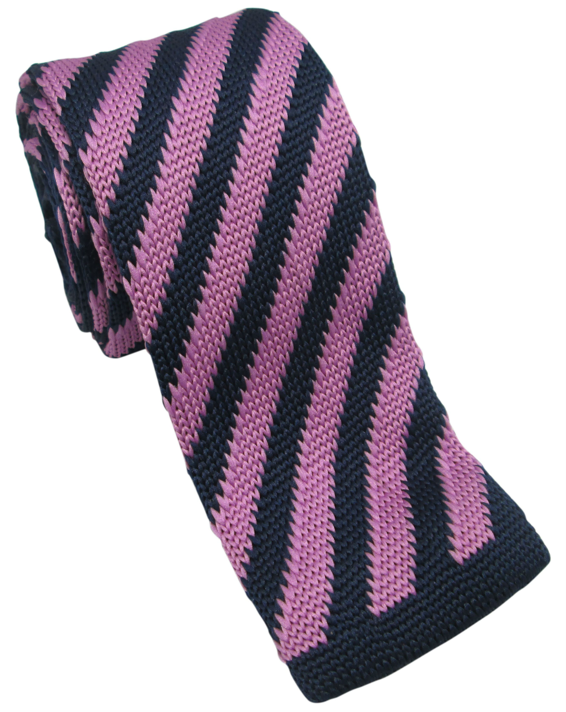 Navy and Lavender Striped Knitted Tie