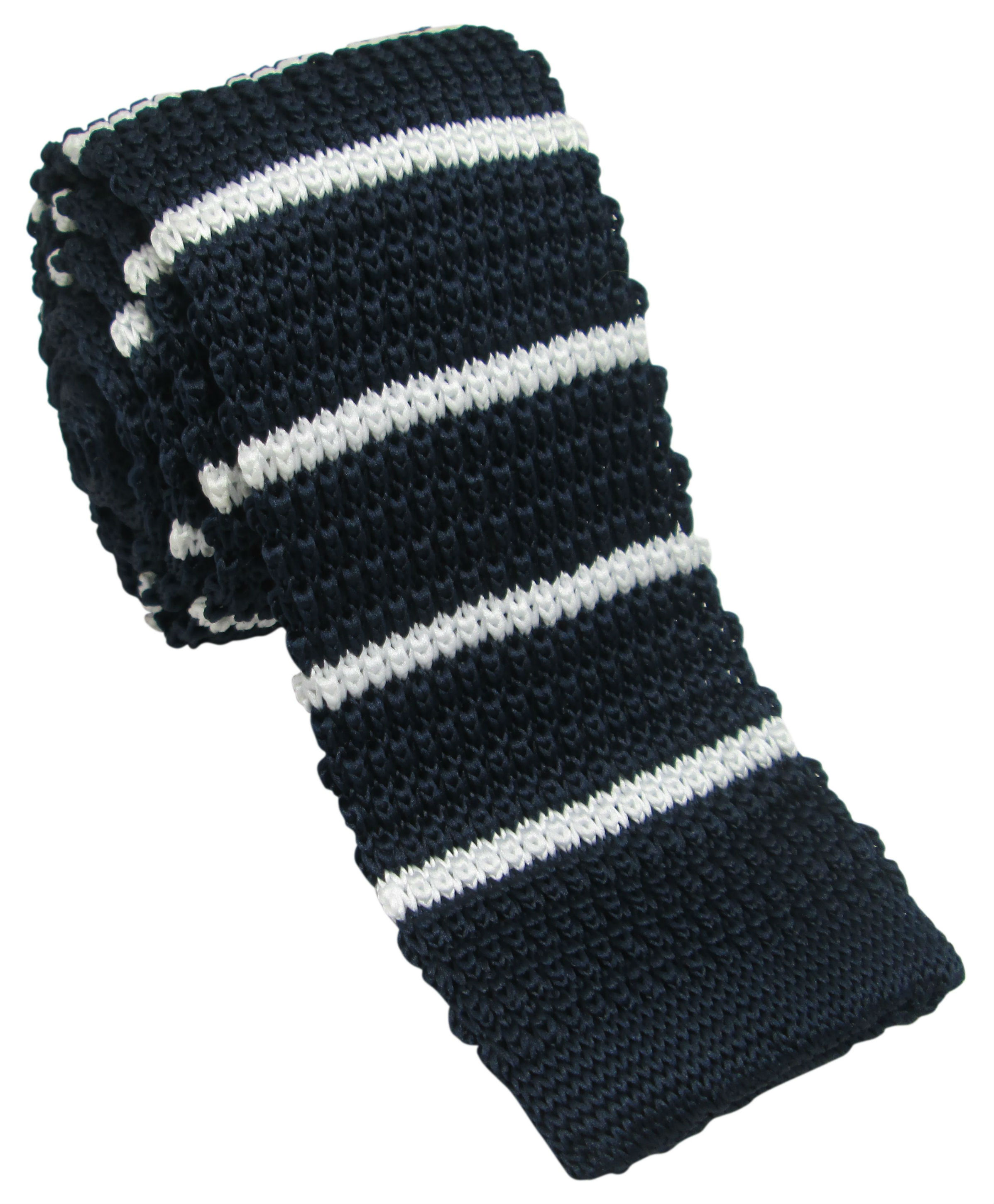 Navy Knitted Tie with White Stripes