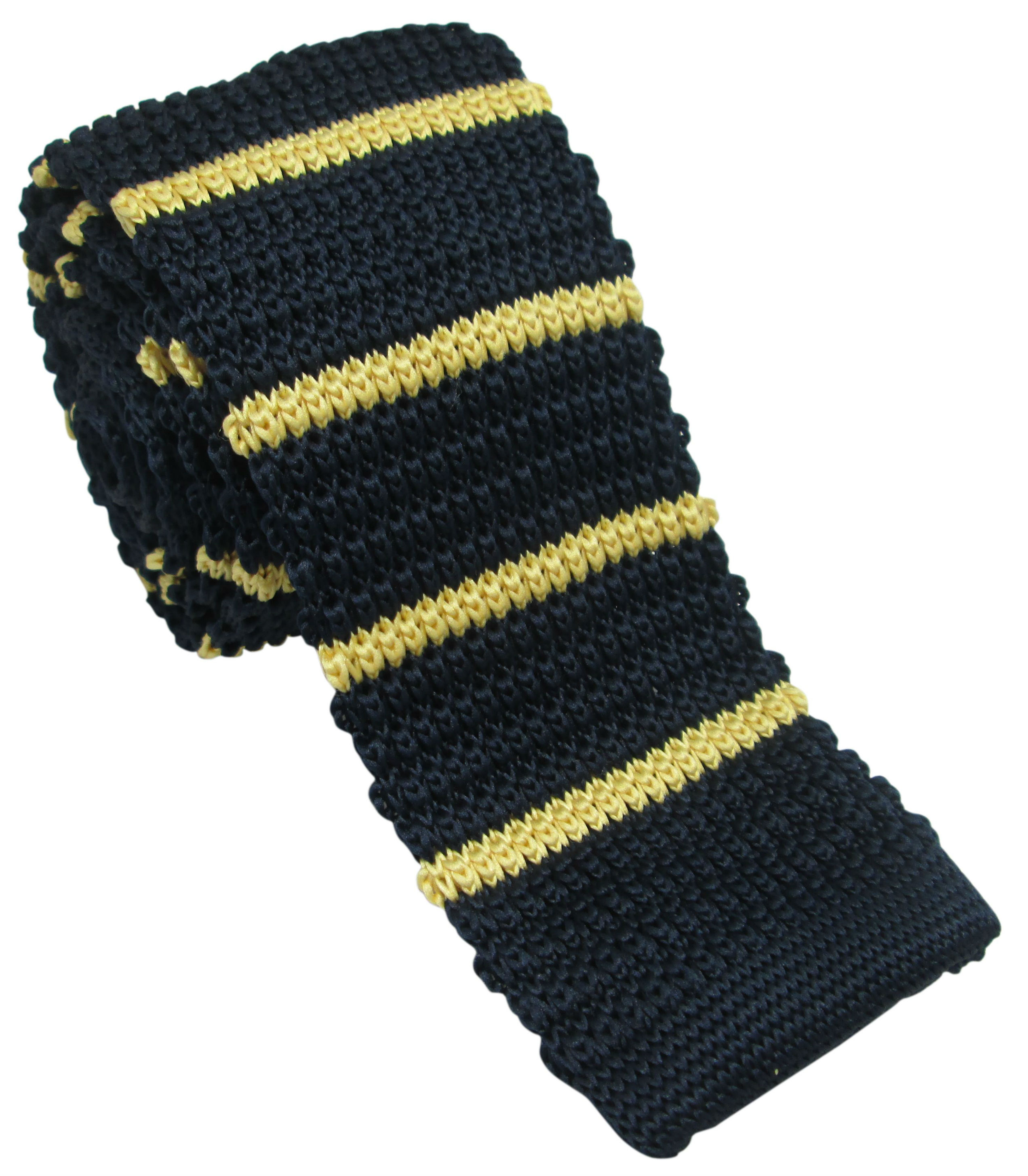 Navy Knitted Tie with Yellow Stripes