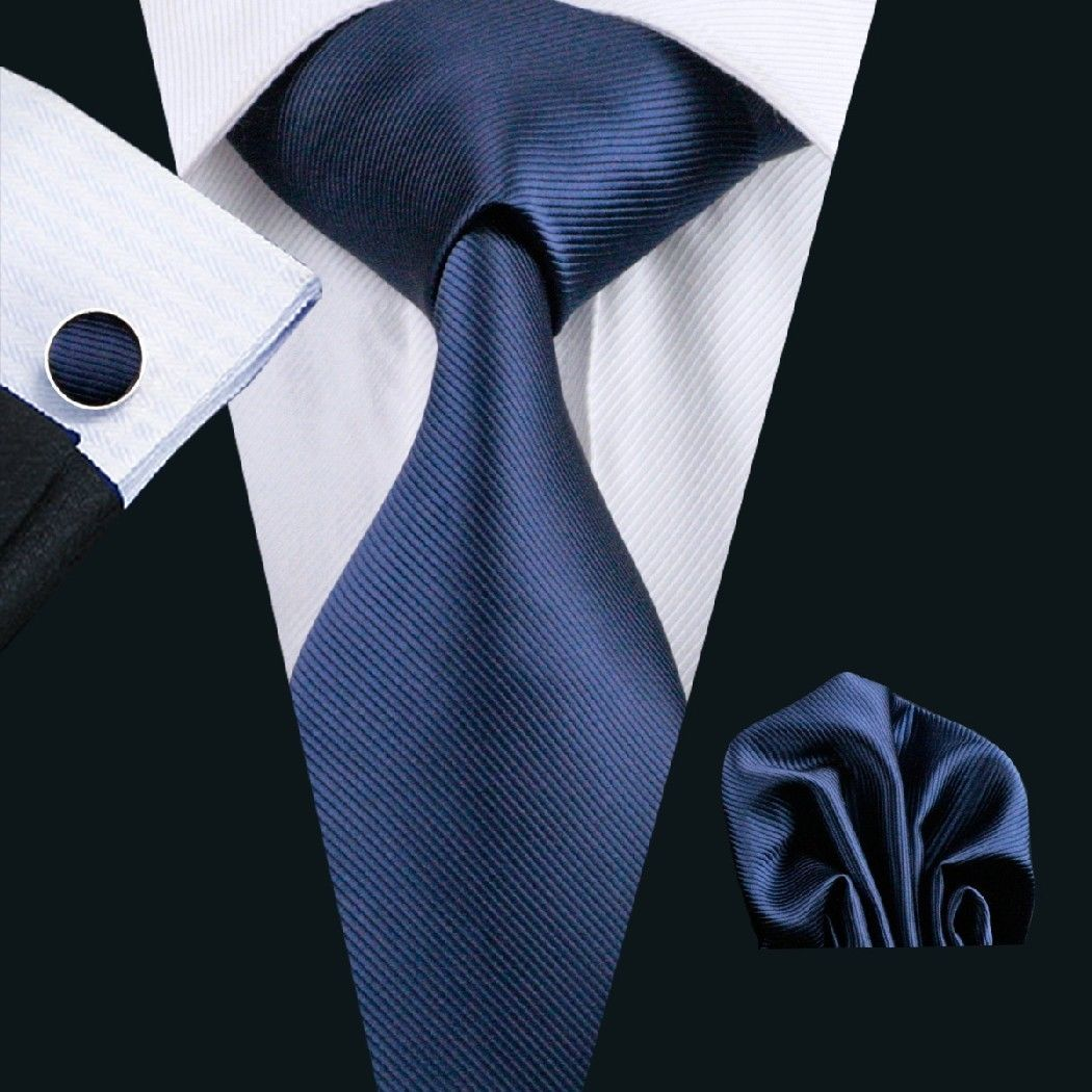 Navy Silk Tie with Matching Pocket Square and Cufflink Set