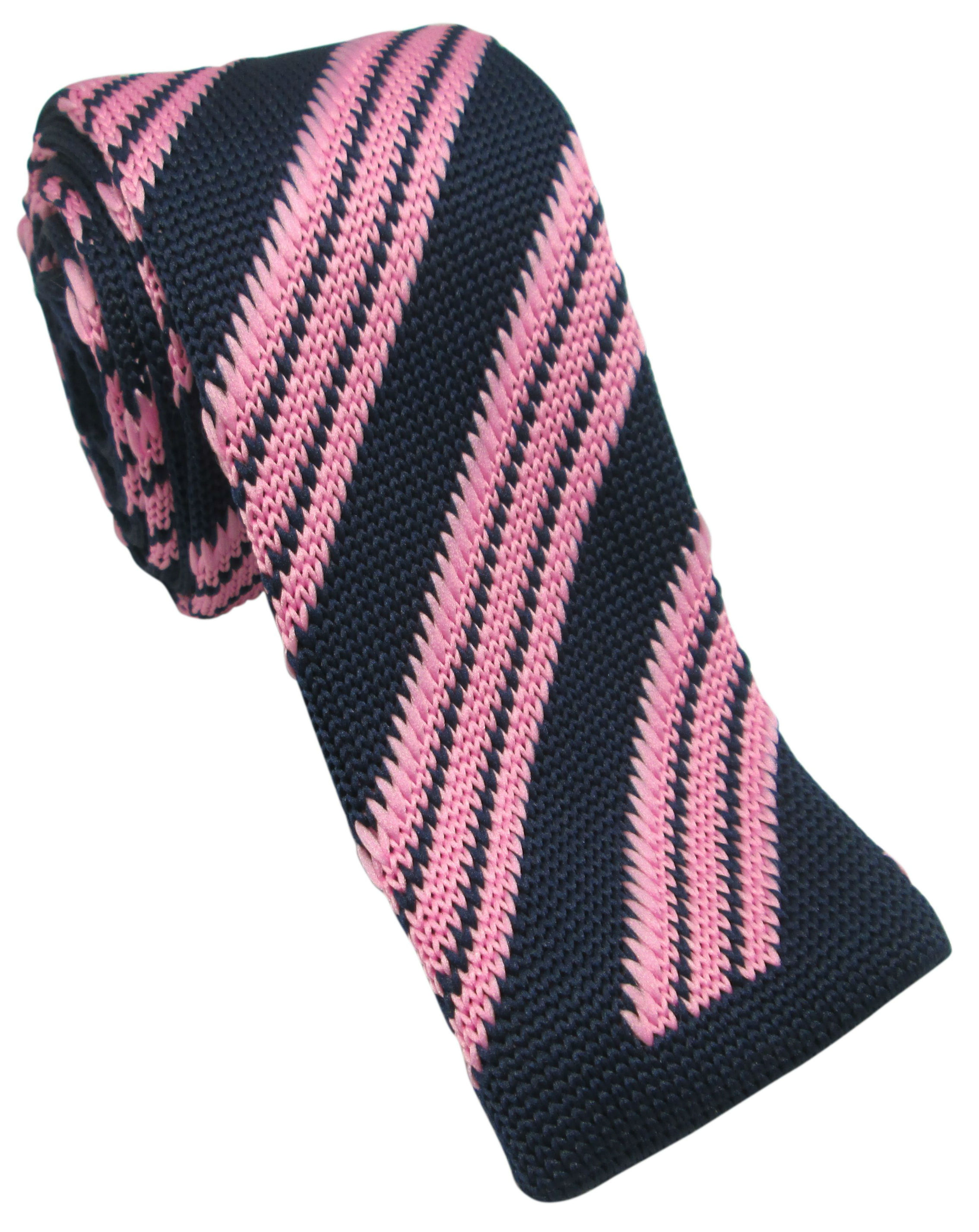 Navy with Pink Striped Knitted Tie