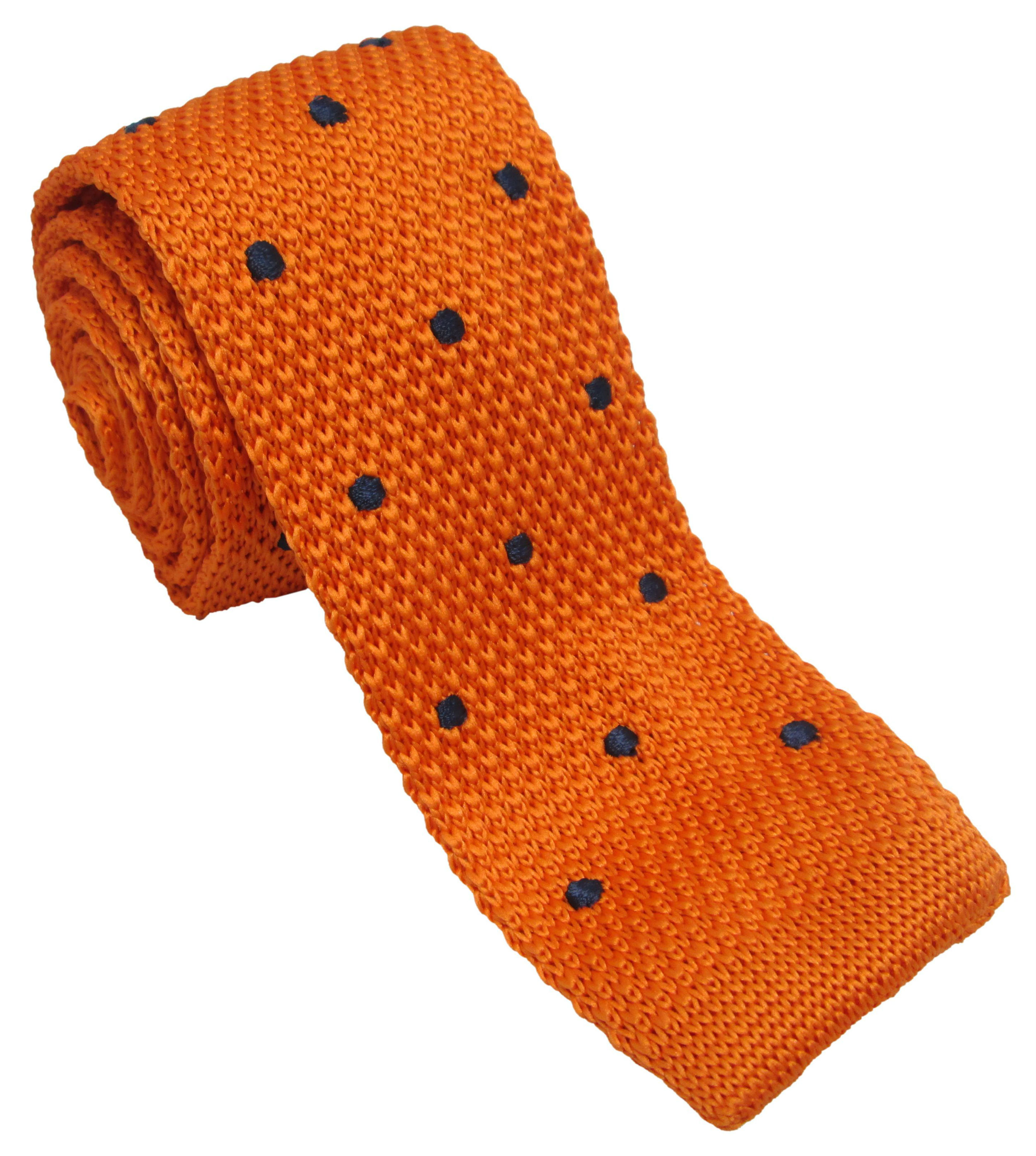 Orange Knitted Tie with Navy Polka Dots