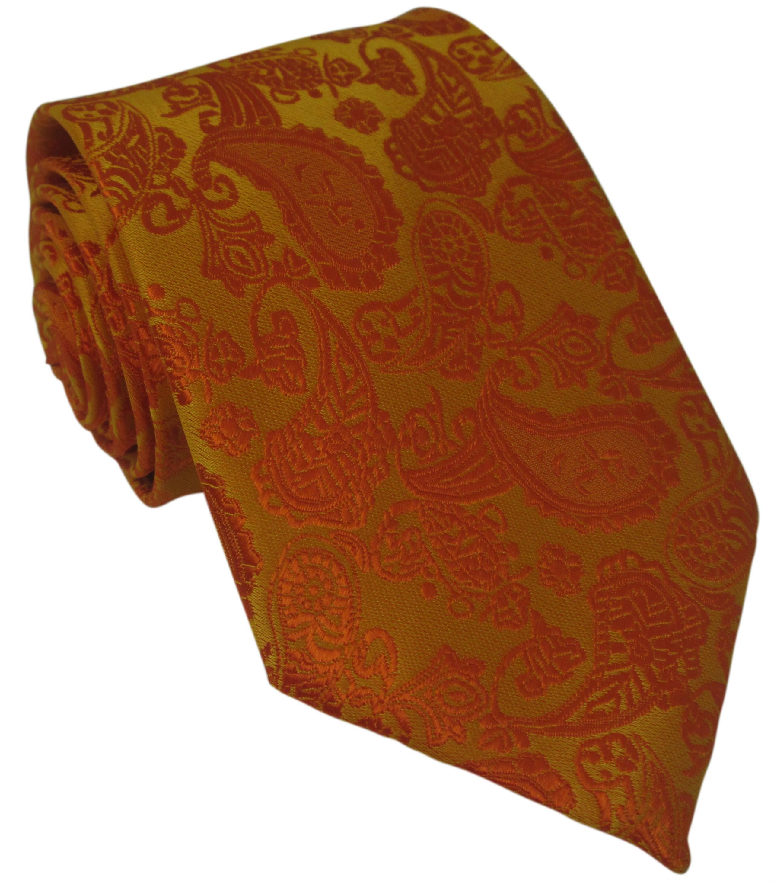 Orange Paisley Silk Tie