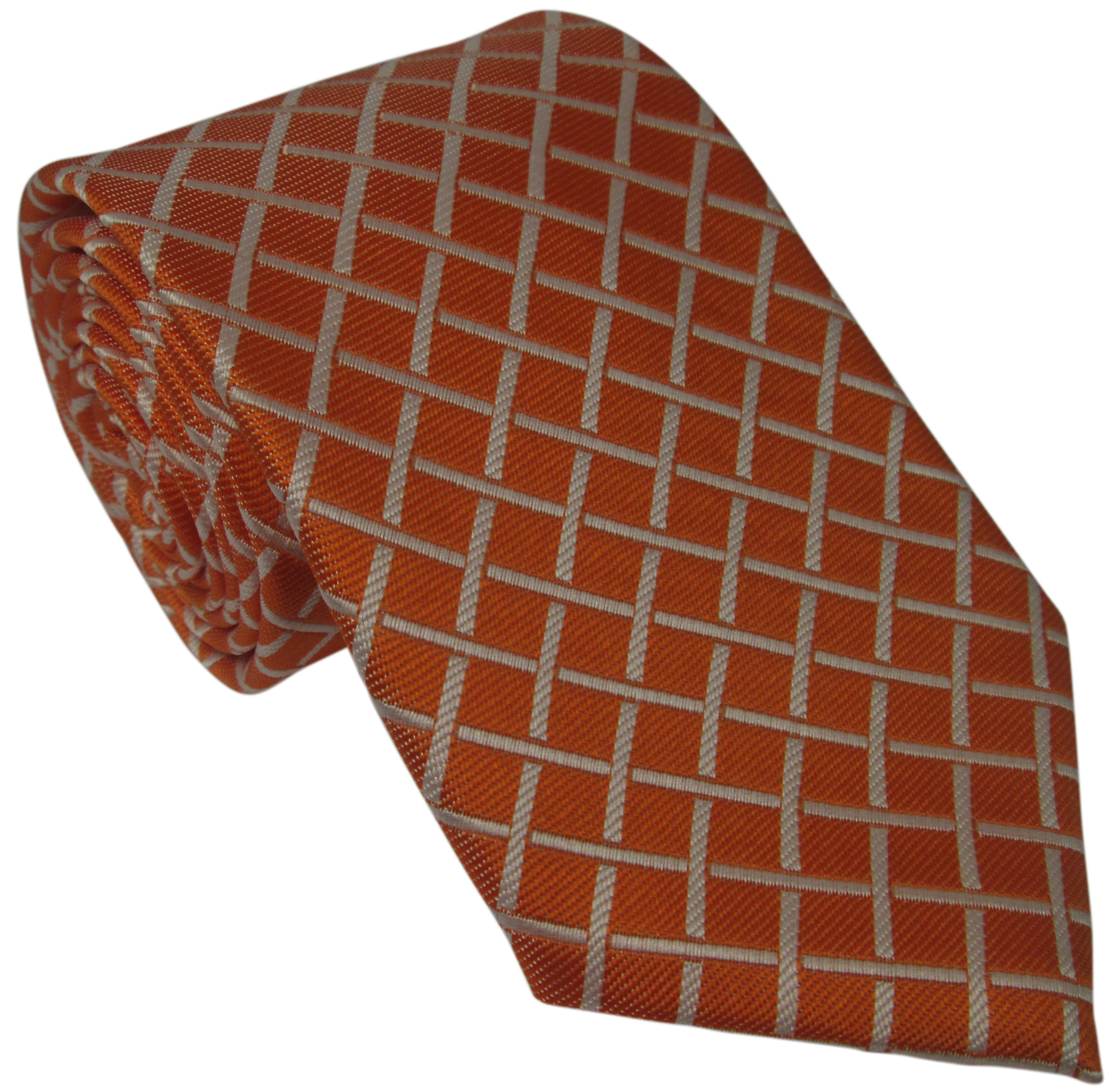 Orange Silk Tie with White Grid Pattern