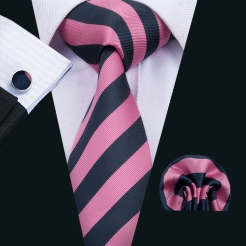 Pink and Navy Striped Silk Tie with Matching Pocket Square and Cufflink Set