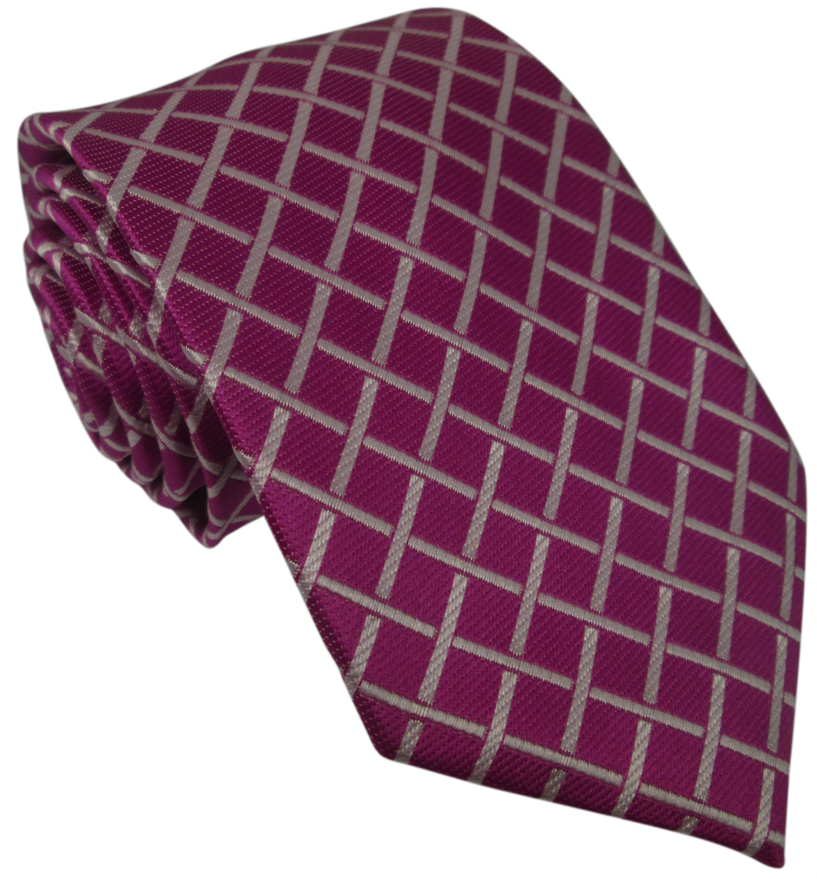 Purple Silk Tie with White Grid Pattern