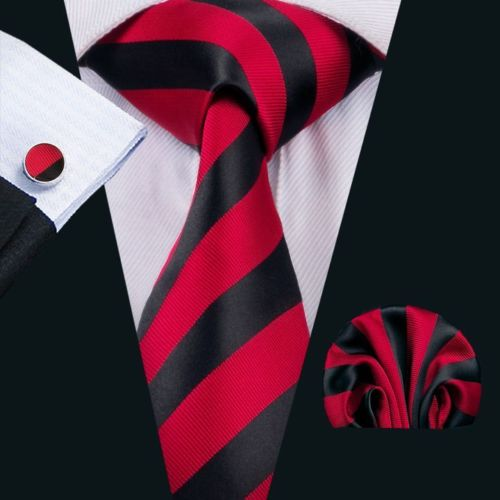 Red and Black Striped Silk Tie with Matching Pocket Square and Cufflink Set