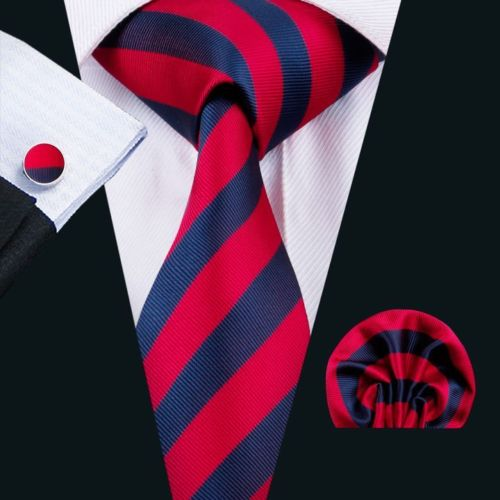 Red and Navy Striped Silk Tie with Matching Pocket Square and Cufflink Set