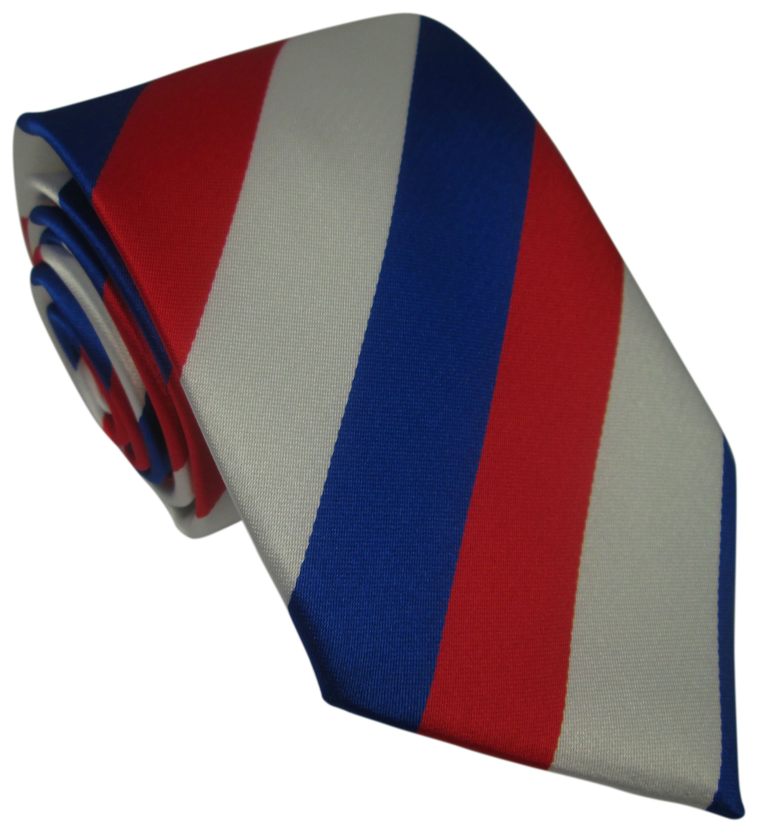 Red Blue and White Striped Silk Tie