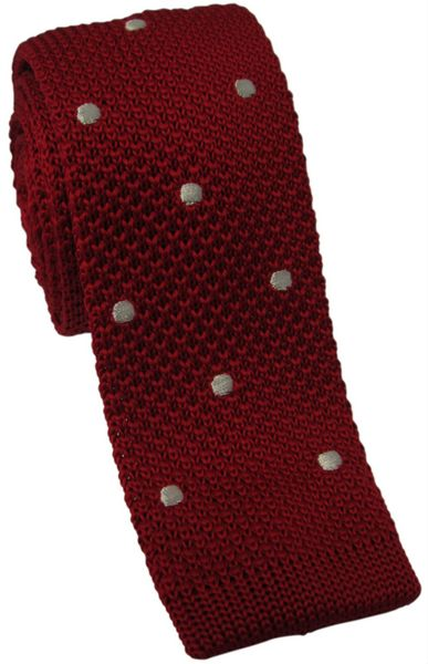 Red Knitted Tie with White Polka Dot