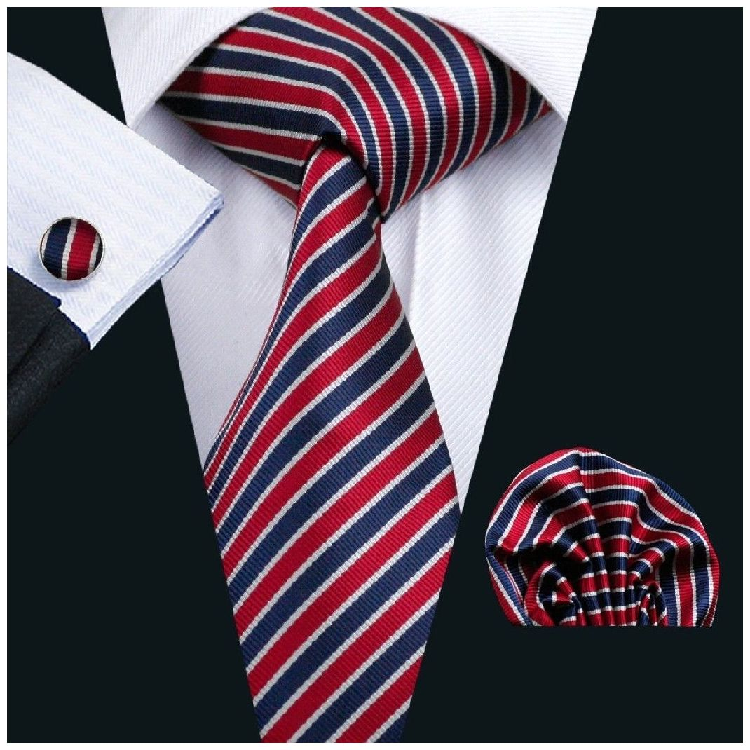 Red Navy and Thin White Striped Silk Tie with Matching Pocket Square and Cufflink Set