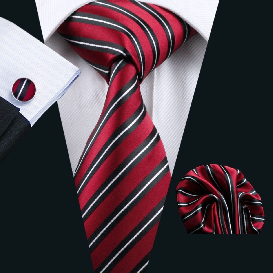 Red Silk Tie with Black and Thin White Stripes Matching Pocket Square and Cufflink Set