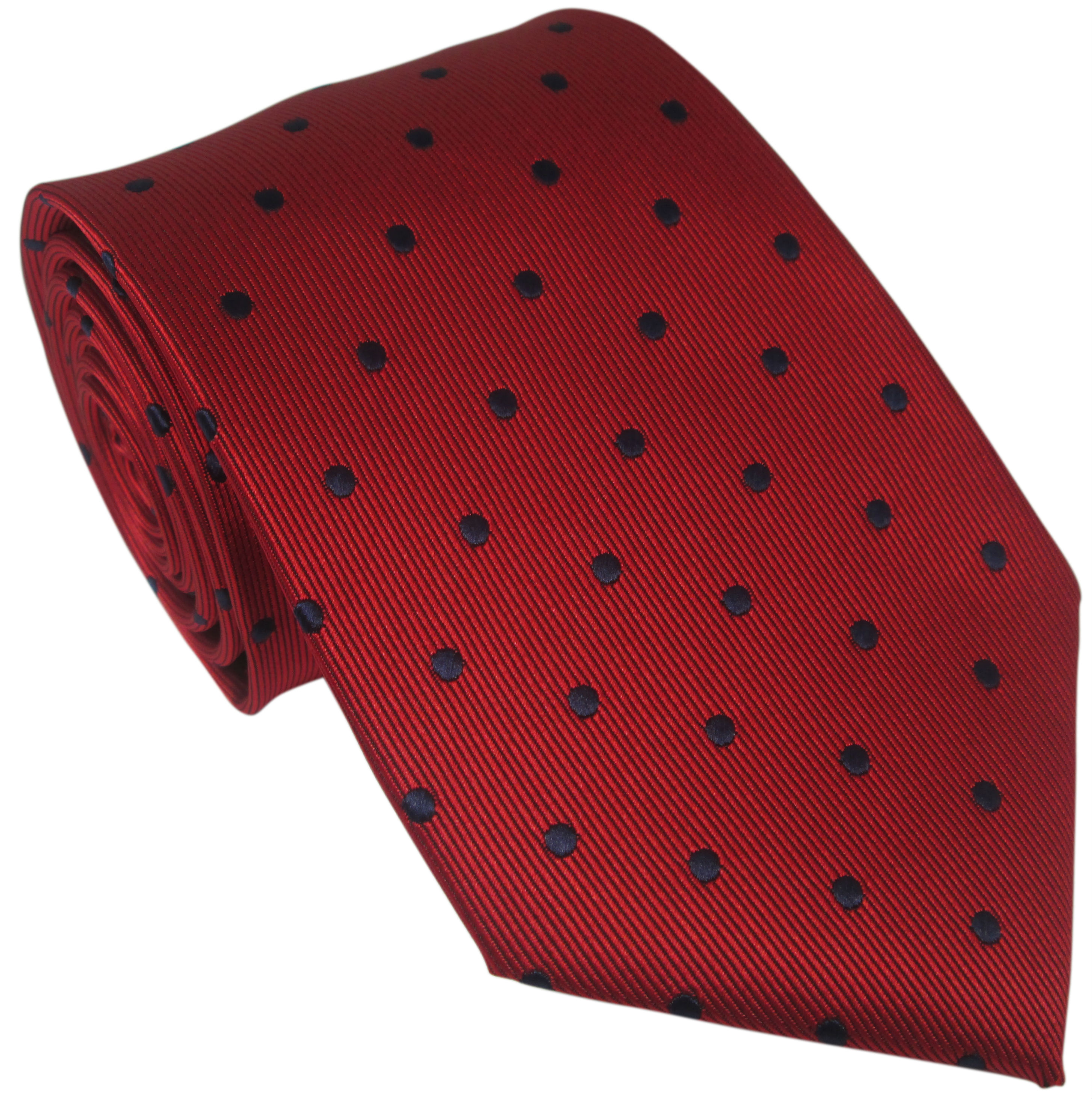 Red Silk Tie with Navy Polka Dot