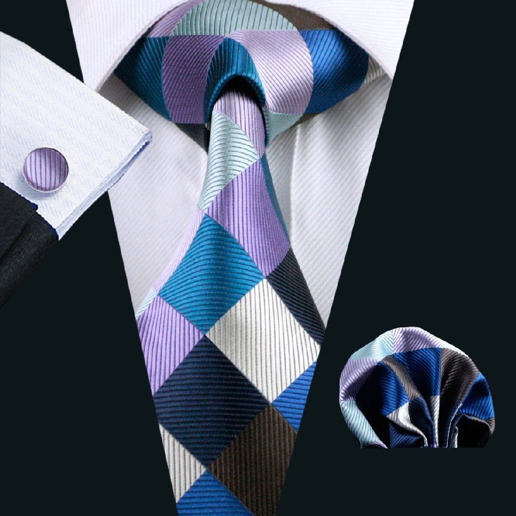 Retro Diamonds Silk Tie with Matching Pocket Square and Cufflink Set