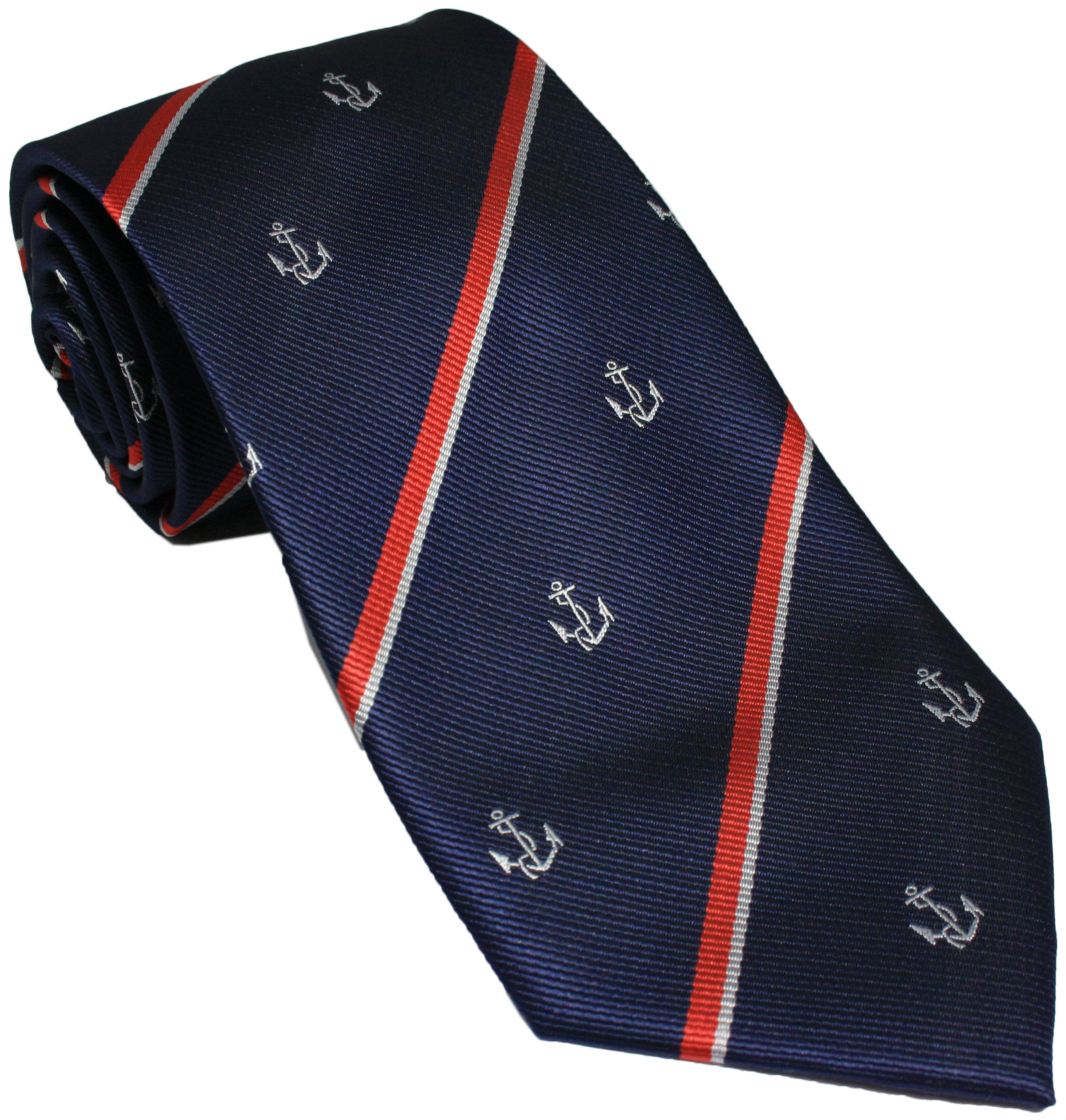 Royal Navy Anchor and Stripes Regimental Silk Tie