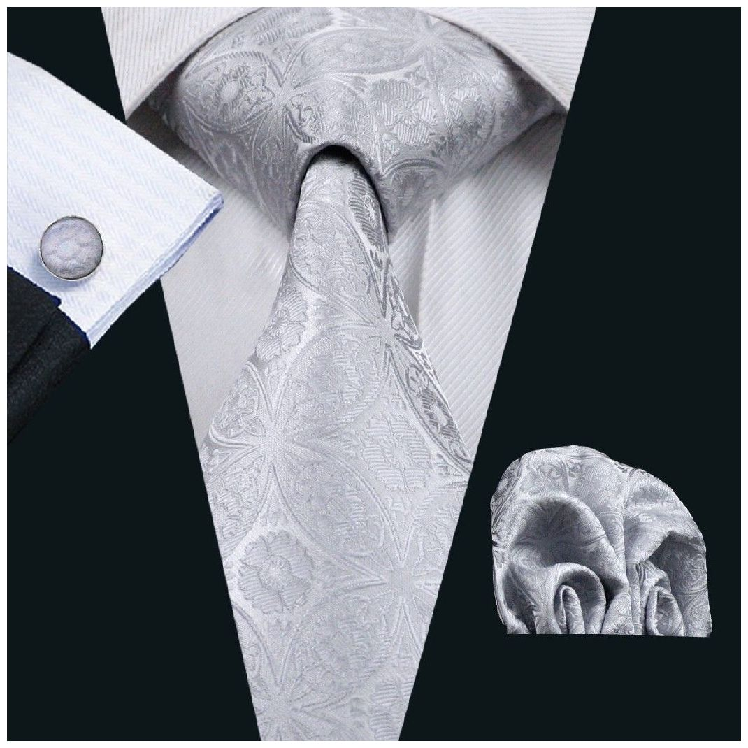 Silver Floral Silk Tie with Matching Pocket Square and Cufflink Set