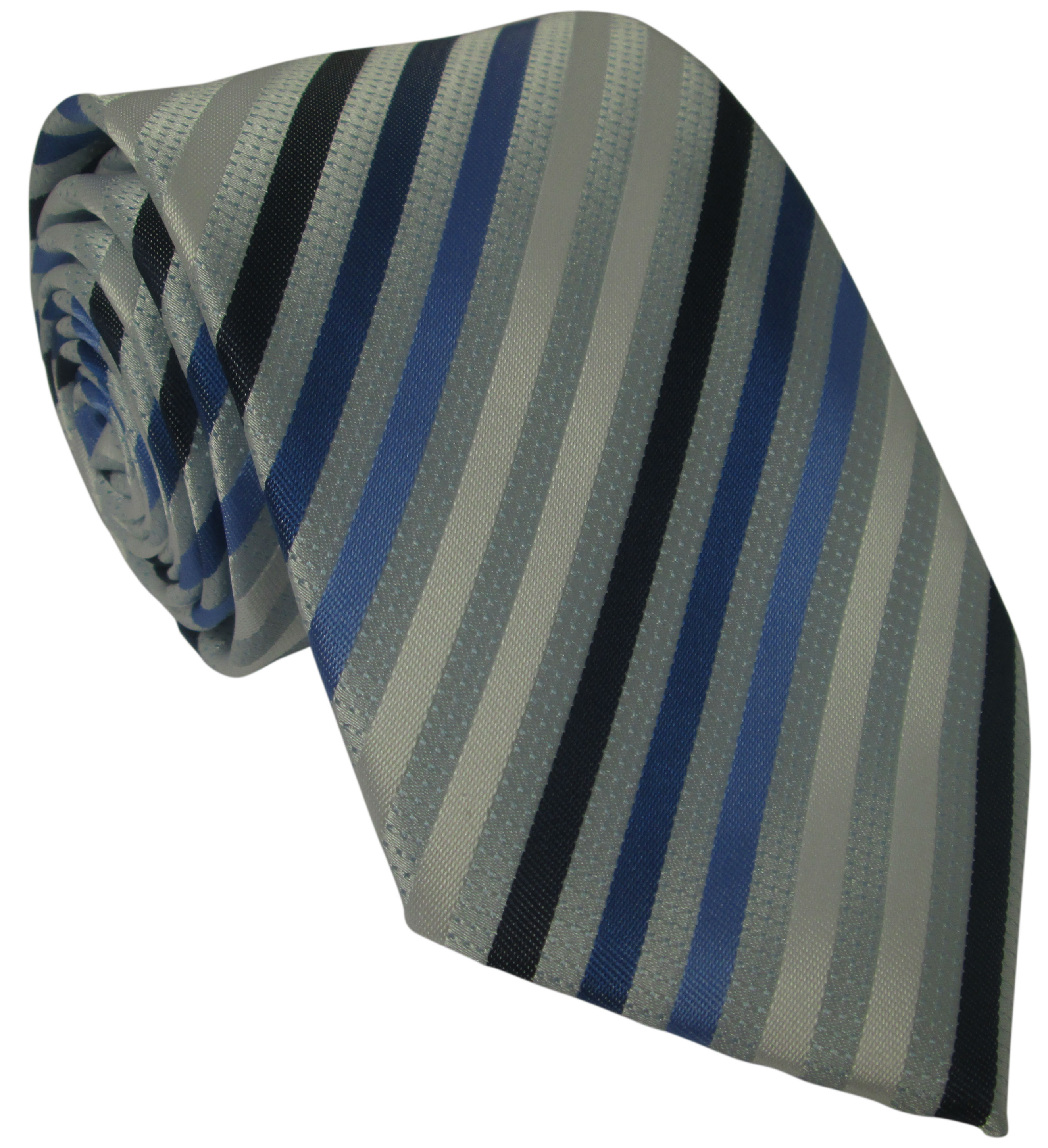 Silver Silk Tie with Blue and White Stripes