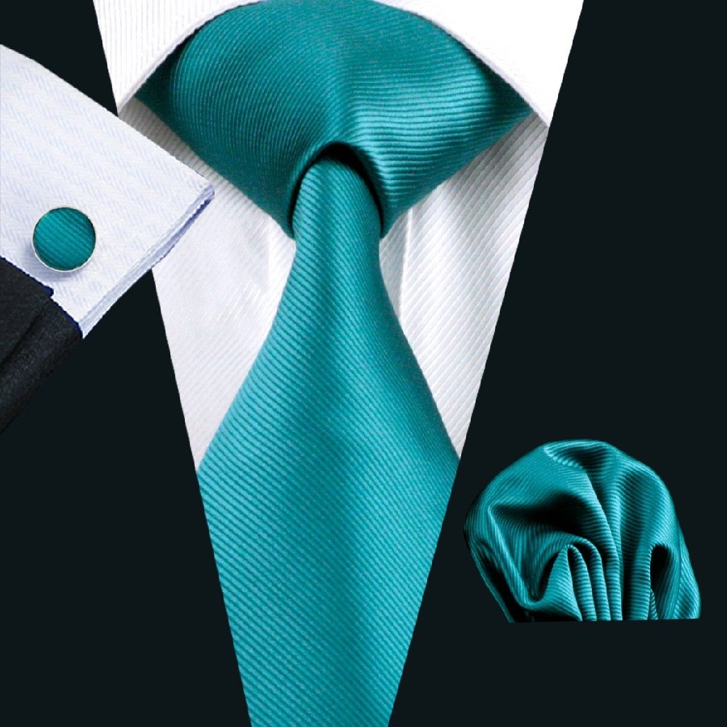 Teal Silk Tie with Matching Pocket Square and Cufflink Set