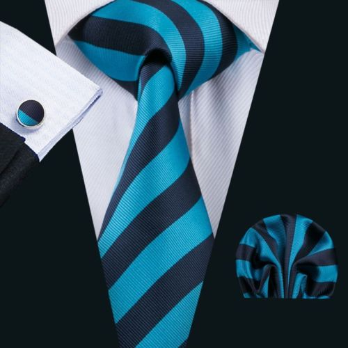 Turquoise Blue and Navy Striped Silk Tie with Matching Pocket Square and Cufflink Set
