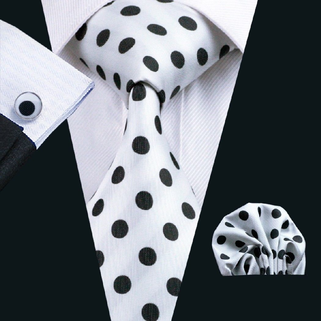 White Silk Tie with Large Black Polka Dot Matching Pocket Square and Cufflink Set
