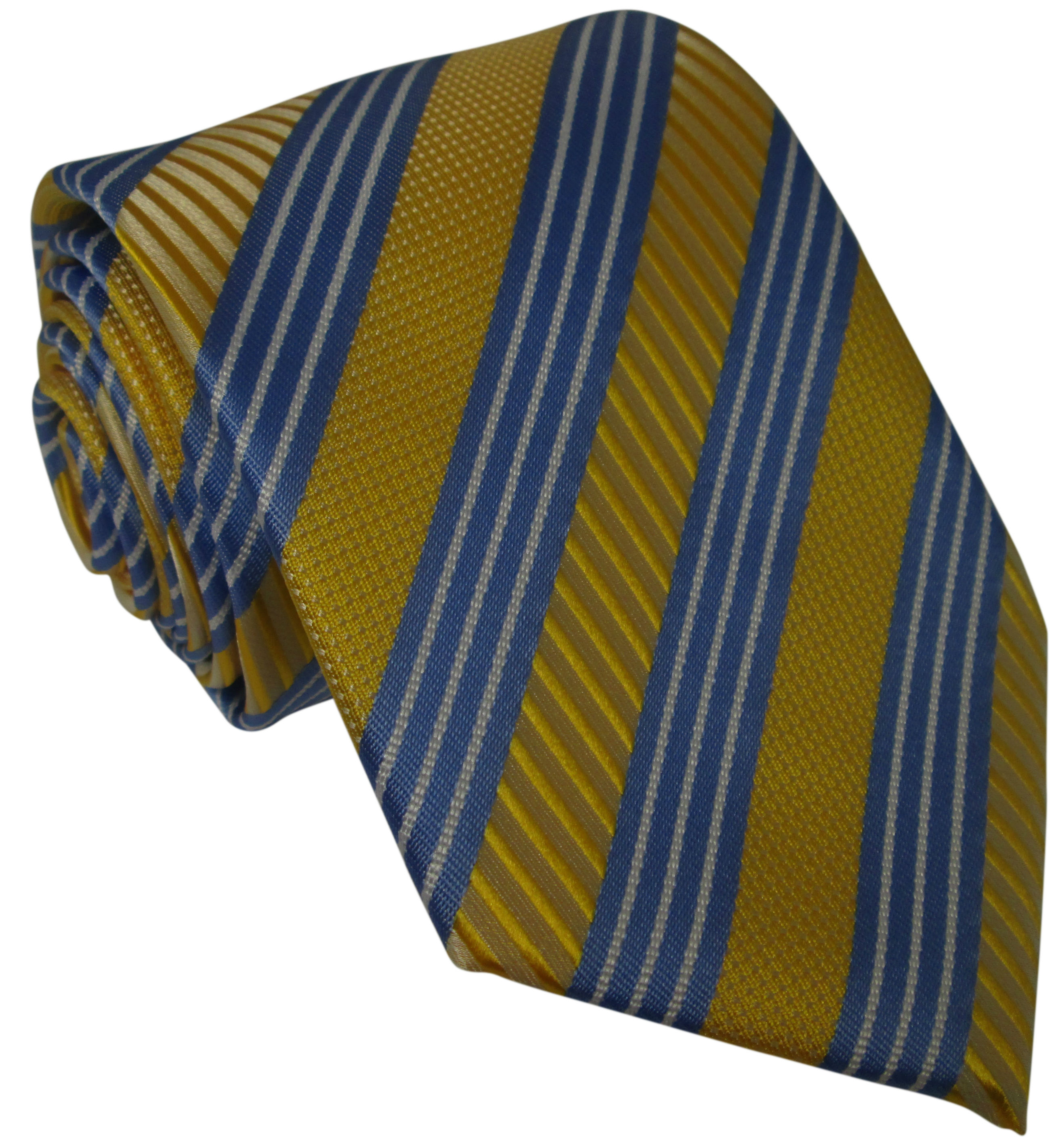 Yellow and Blue Silk Tie with Thin White Stripes