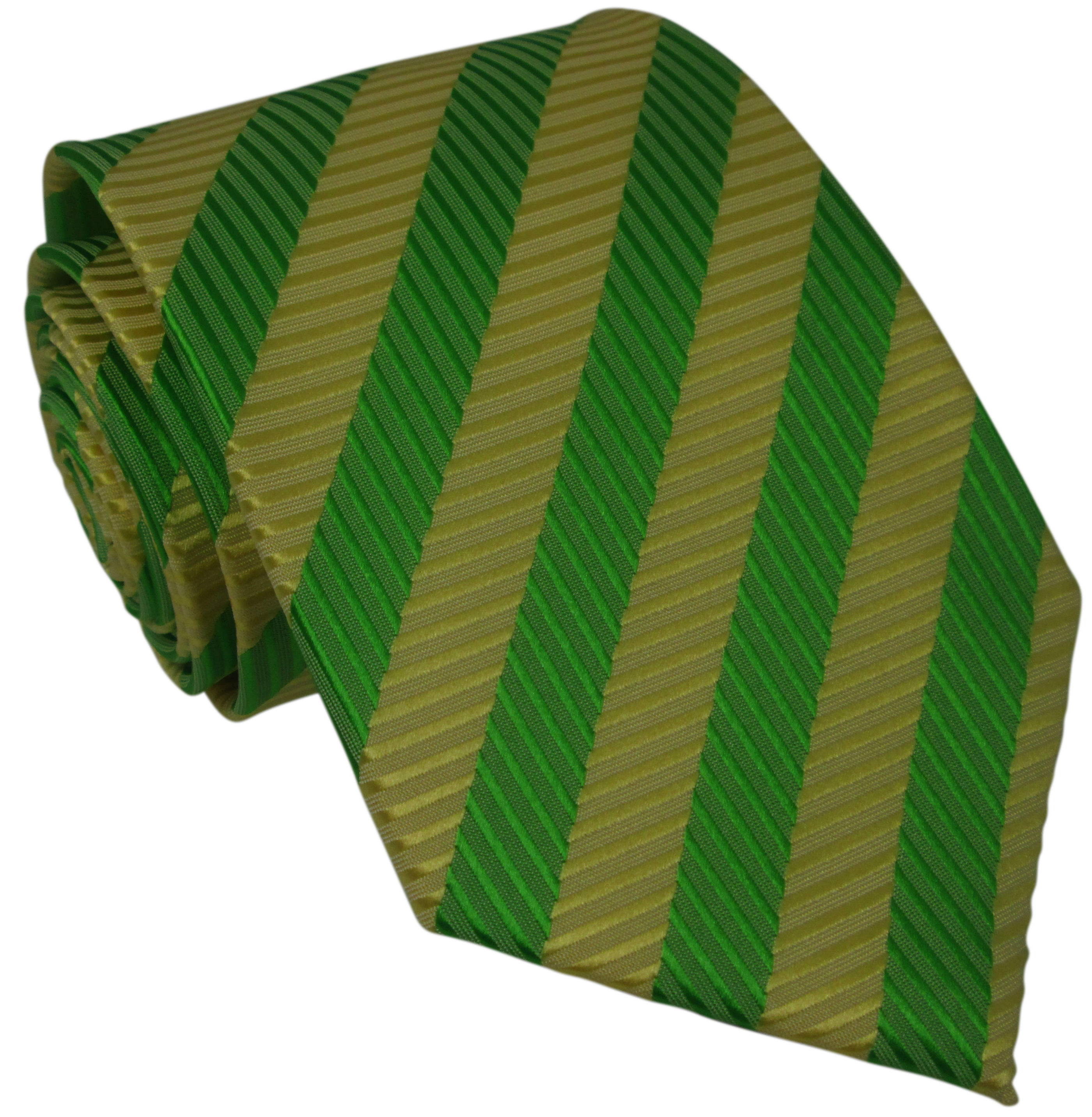 Yellow and Green Striped Silk Tie