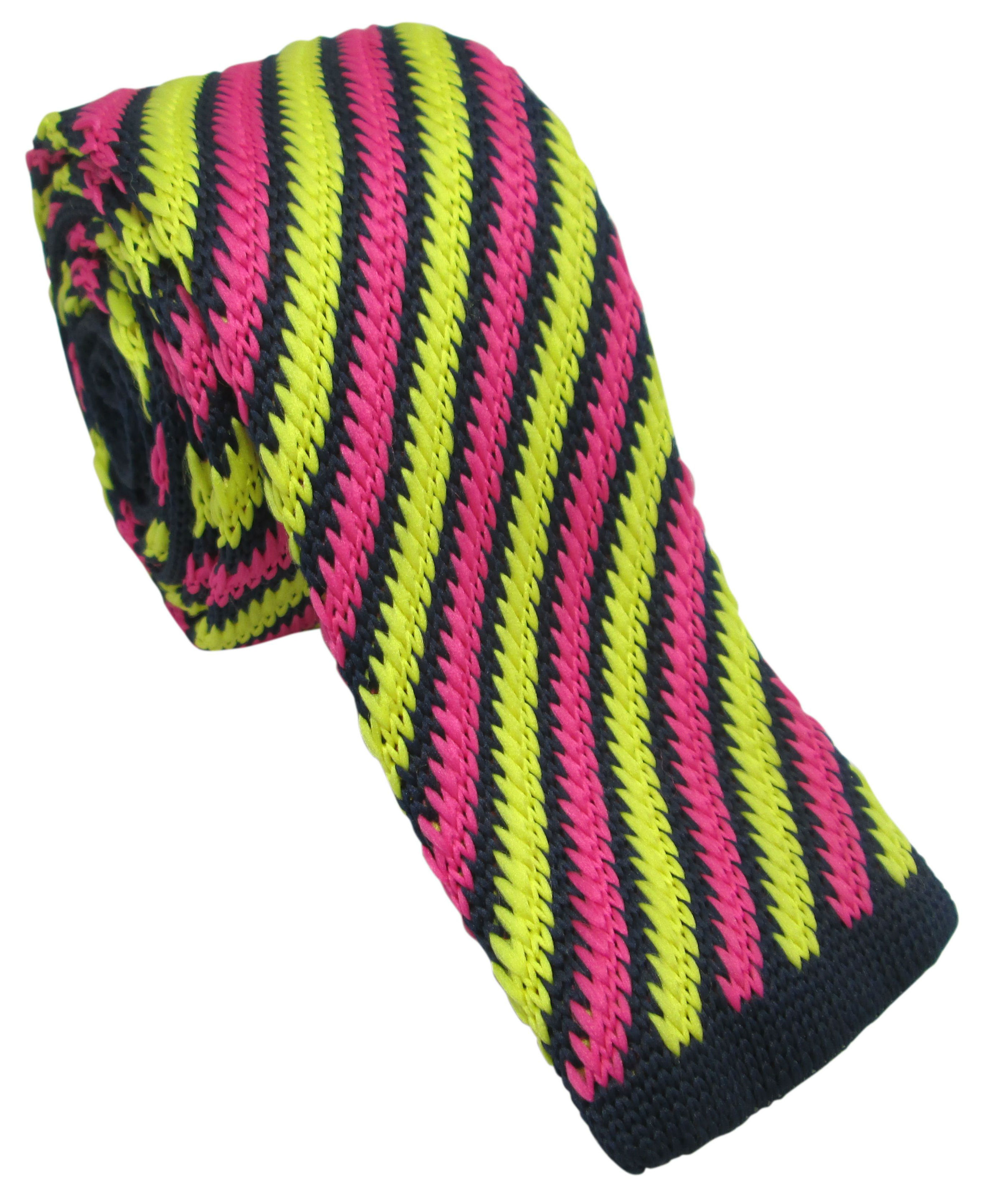 Yellow and Pink Knitted Tie