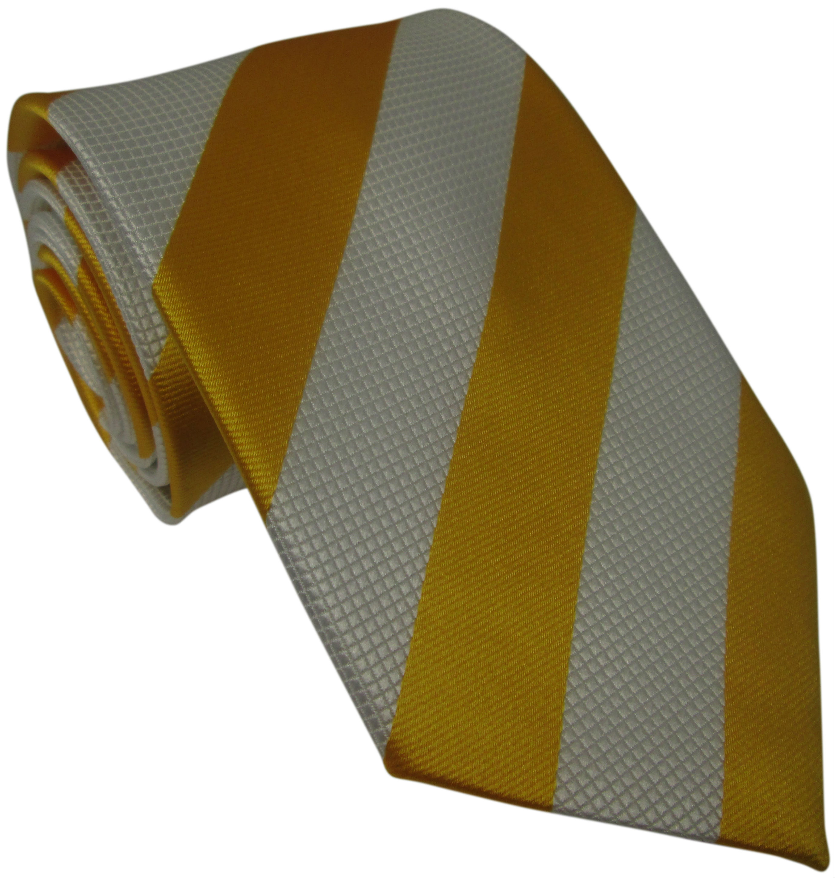 Yellow and White Striped Silk Tie
