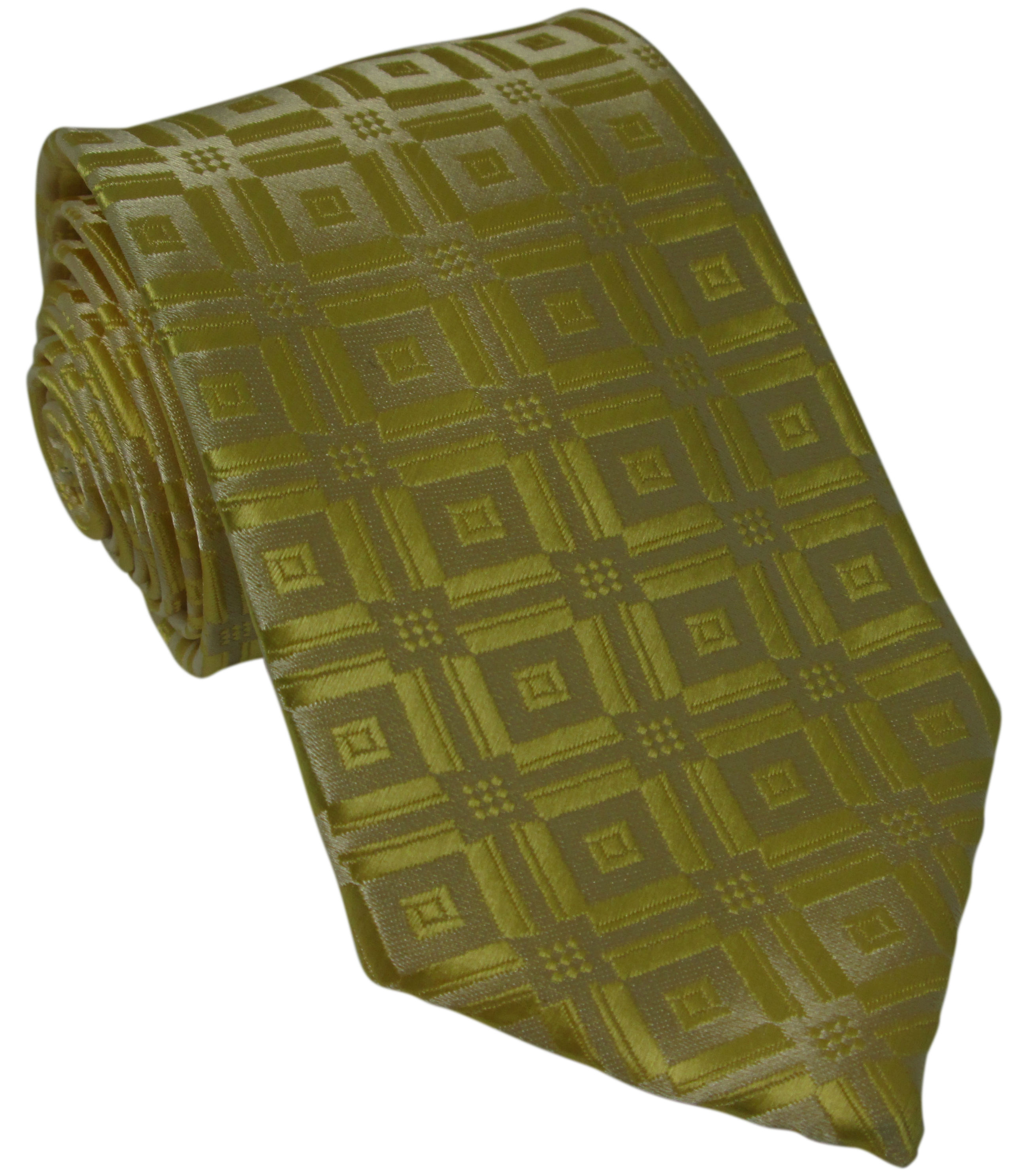 Yellow Patterned Silk Tie