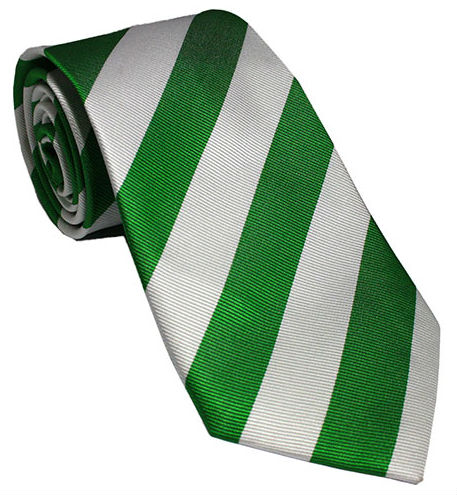 Green and White Striped Silk Tie