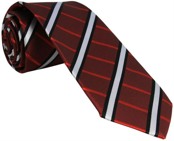 Dark Red Tie with White Stripes and Black Border