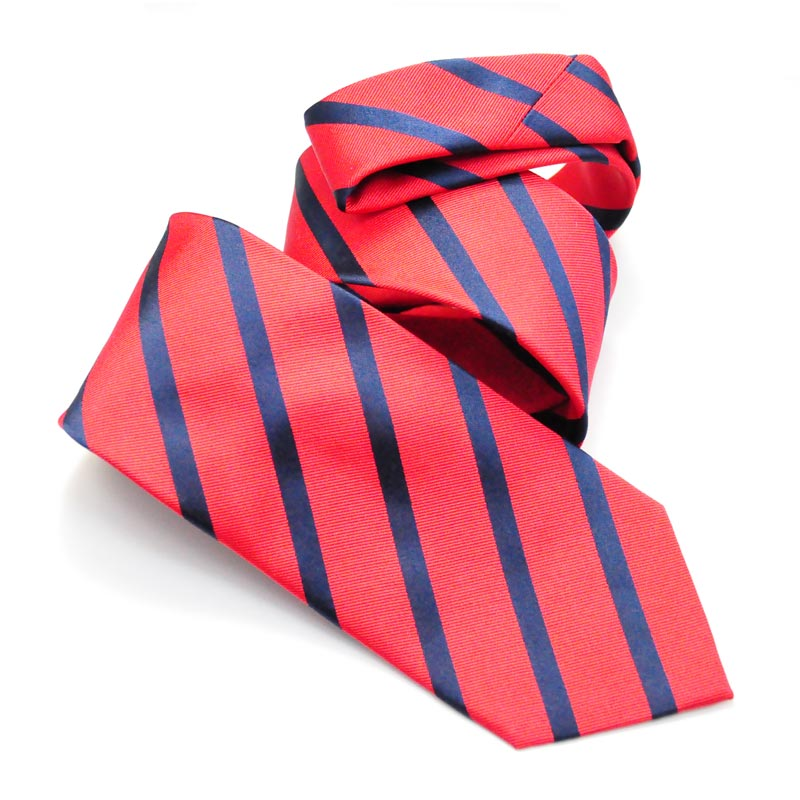 Red and Navy Striped Silk Designer Tie