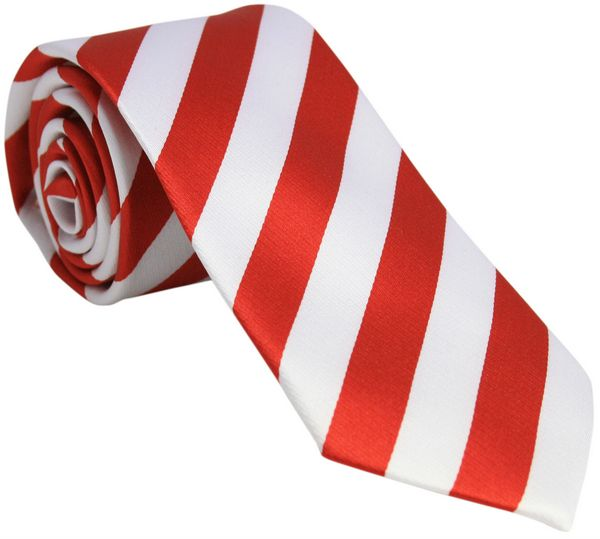 Red and White Striped Silk Tie