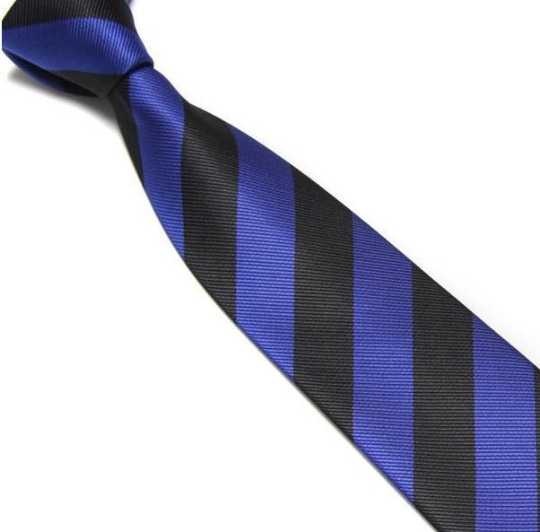 Black and Blue Striped Club Tie