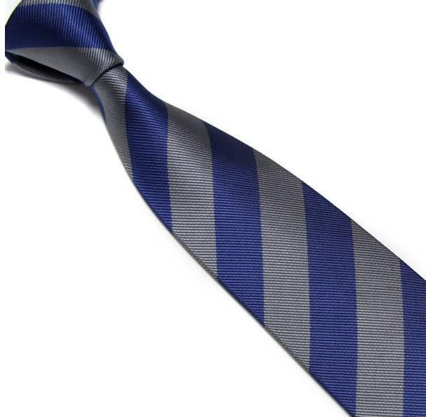 Blue and Grey Striped Club Tie