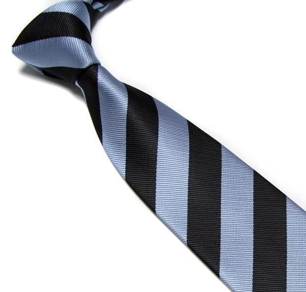 Light Blue and Black Striped Club Tie