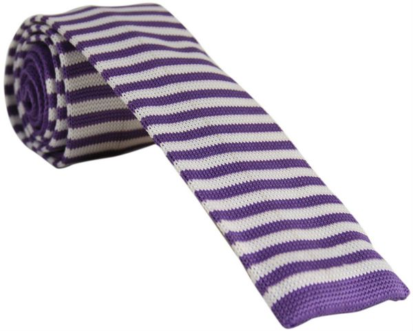 Purple and White Striped Knitted Tie