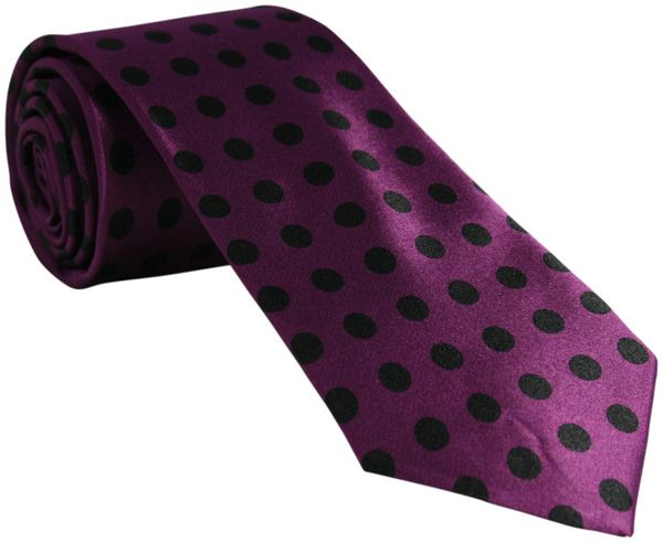 Purple Tie with Black Polka Dots