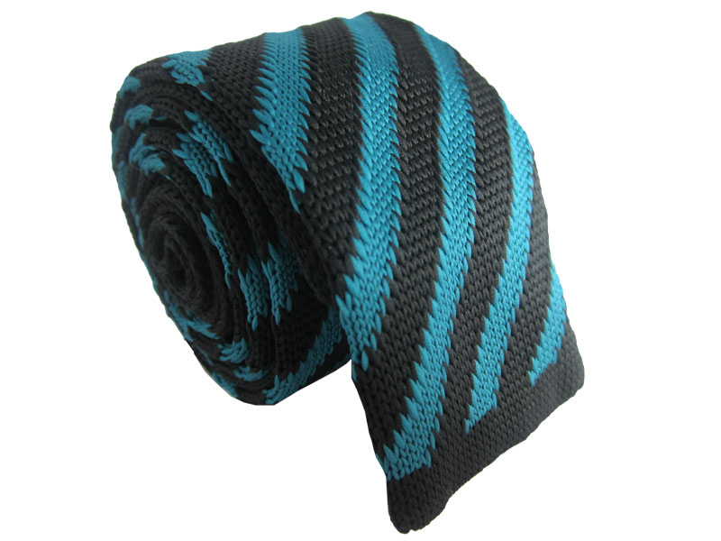 Teal and Black Striped Knitted Tie